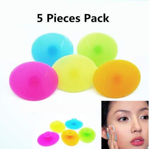 Ielva Face Brush Cleaner Silicone Facial Cleansing Brush Silicone Makeup Cleaner Brush Precision Pore Cleansing Pad Deeper Clean Exfoliate Skin 5 Pieces Pack