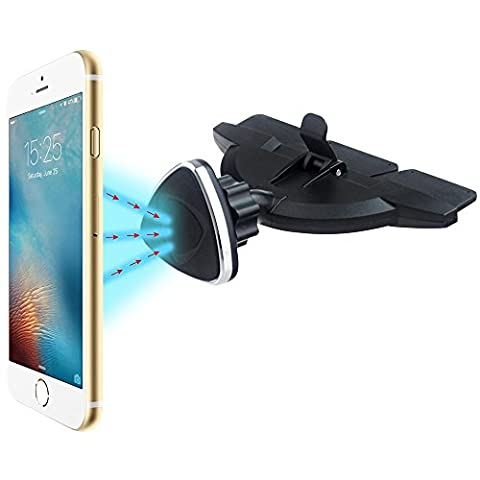 EXSHOW Magnetic CD Slot Car Mount,Universal 360 Degree Rotation Cell Phone Holder with One Touch for All the Smartphones and Mini Tablets (Iphone 4 Metal Case With Screws)