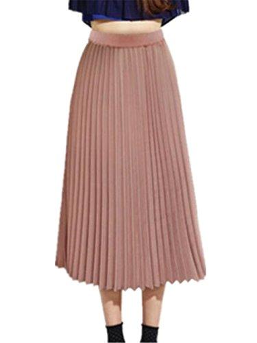 Haililais Femme Jupe en t Taille Extensible Jupe Mousseline Couleur Unie Jupe Plisse ElGant Femelle Jupe Mi Longue Taille Haute Amincissante Jupe Pink