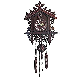 YJMM Wall Cuckoo Clocks Black Forest Hand-Carved Wooden Cuckoo Clock House Home Decor,Darkblack