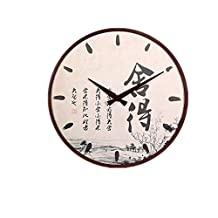 Solid Wood Chinese Style Chinese Character Wall Clock Mute Retro Modern Round Hanging Restaurant Bedroom Elegant Simple Decoration Fashion Bedroom Environmental Protection,Black