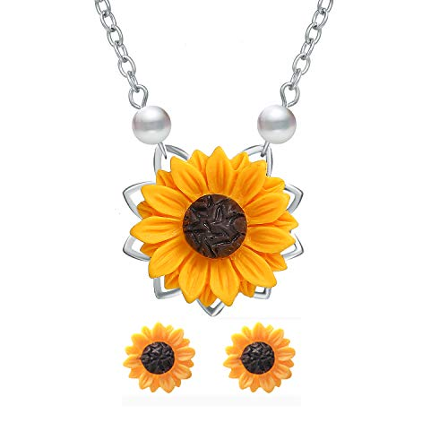 S-WAY Hypoallergenic Sunflower Pearl Chain Resin Boho Handmade Drop Pendant Necklace Plated Sunflower Resin Earring ()