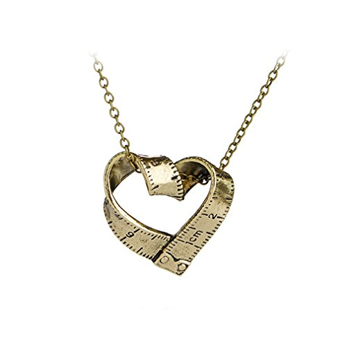 ale measuring ruler tape Twisted Heart-shaped Necklace Pendant Necklace for Women Men Jewelry Gift For Teachers and Students,Bronze ()