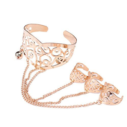 Molyveva Fashion Retro Hollow Carved Bracelet Linked Finger Ring Bangle Slave Chain Accessory Jewelry (Gold)