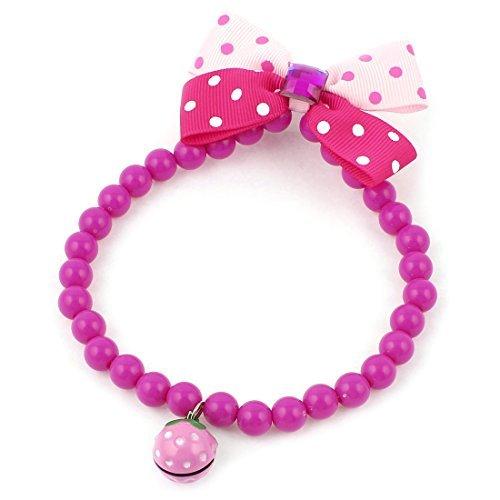 eDealMax Bowknot Collar de perlas Decoracin perro, 9.8, Fucsia Rojo/rosa