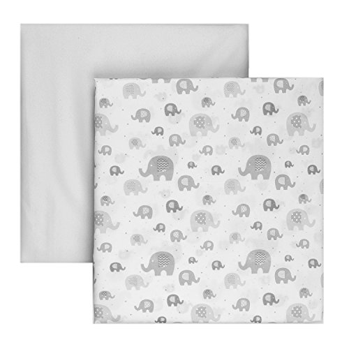 Tadpoles 2 Piece Microfiber Crib Fitted Sheets, Elephant, Grey