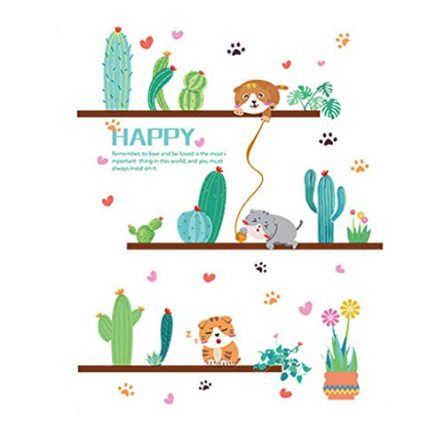 Sayolala Jungle Wall Stickers Cute Cat Theme Family