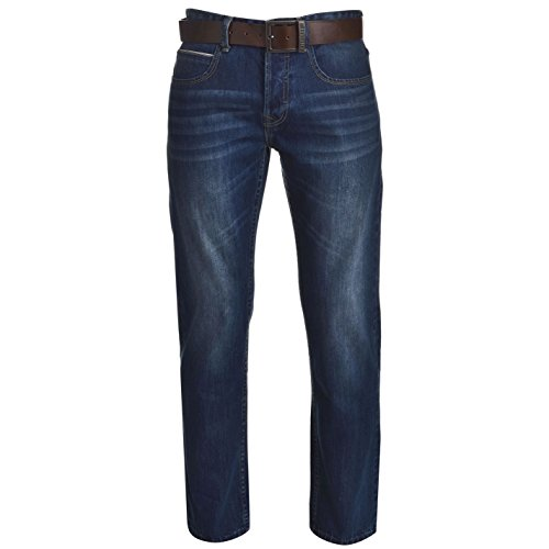 Firetrap Herren Jeans Leder Guertel Inklusive Straight Denim Hose Jeanshose Blau 34W S
