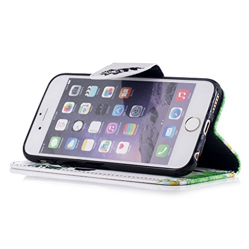 Crisant Netter Panda Drucken Design schutzhülle für Apple iPhone 6 6S 4.7'' (4,7''),PU Leder Wallet Handytasche Flip Case Cover Etui Schutz Tasche mit Integrierten Card Kartensteckplätzen und Ständer