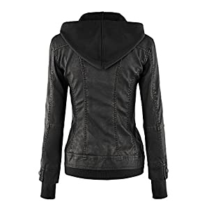 MBJ WJC664 Womens Faux Leather Jacket with Hoodie L BLACK
