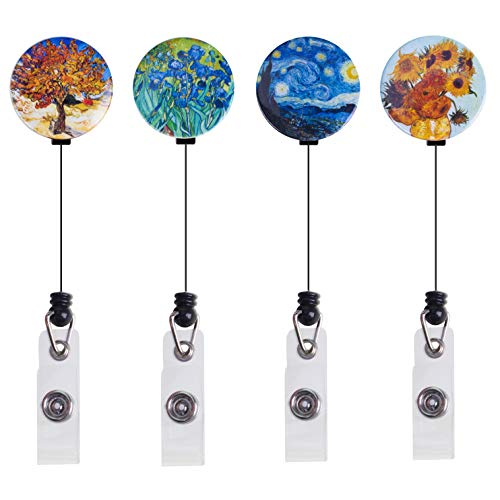 ZEALUX Van Gogh Retractable Badge Holder with 360° Degree Swivel Double Alligator Clip, ID Badge Reel with Painting, 4 Pack Great Gift (Van Gogh Painting - Reel Badge Double