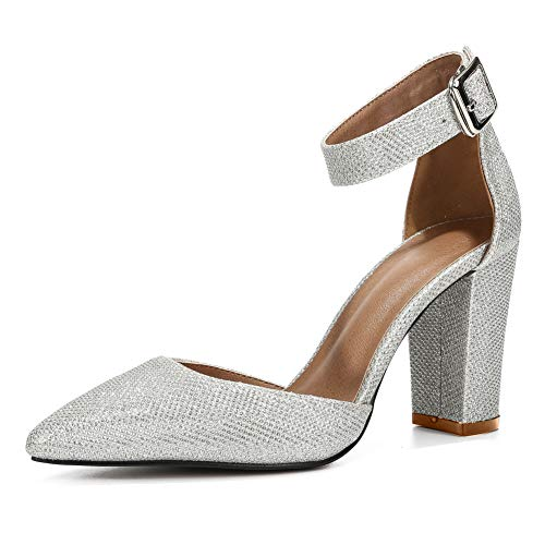 - Women's Ankle Strap Pointed-Toe Chunky Block High Heel Dress Pump Shoes Glitter Silver Label Size 40-250mm - US 9