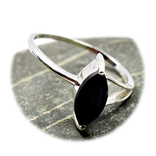 Marquise Cut Black Onyx - Jewelryonclick Genuine Marquise Cut Black Onyx Sterling Silver Ring For Men & Women Size US 4 to 12