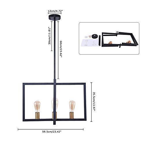 Lingkai Modern Kitchen Island Light 4-Light Pendant Light Dining Chandelier Ceiling Lighting Fixture Industrial Matte Black with Antique Brass Finish by Lingkai (Image #1)