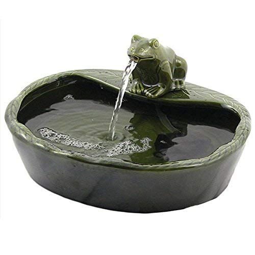 Solar Powered Green Frog Water Fountain