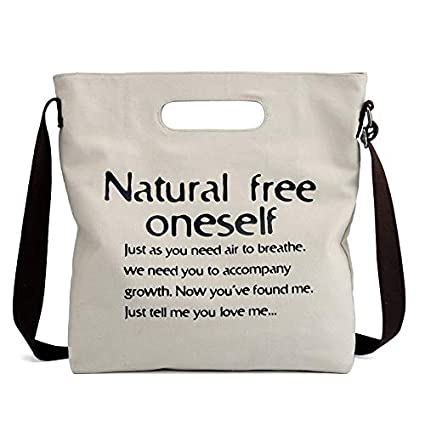 3e7d007f5084 YNNB Canvas Letter Hangbag, Women's Canvas Tote Bags Student Printed ...