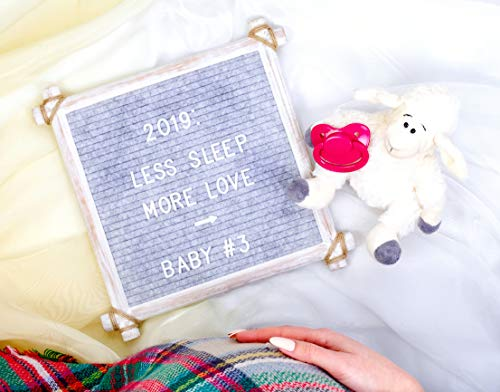 Hand Crafted Felt Letter Board | Unique Design with Rustic Wood & Rope | Artisan Vintage Frame + Back Stand | 12x12 Inch Antique Changeable Message Board 350 White Alphabet Letters, Numbers & Emojis Photo #2