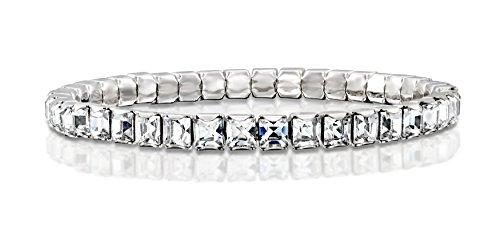 Rhodium Plated Stretch Tennis Bracelet Made with Original Swarovski Square Crystals, - Bracelets Swarovski Round