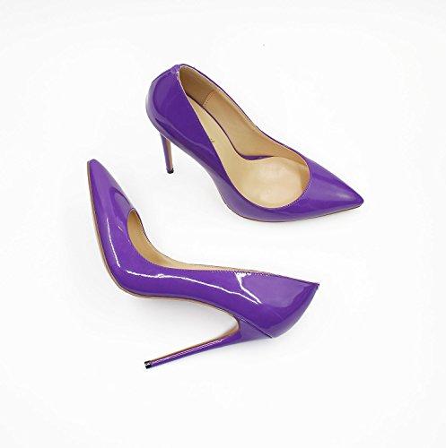 Guoar Donna Stiletto Scarpe Di Grandi Dimensioni Punta Punta Pompe Di Vernice Solide Per Il Posto Di Lavoro Vestito Partito A-viola