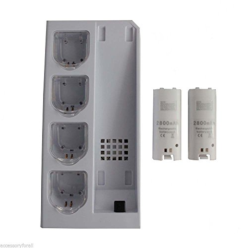 BEST OFFER!!! STOCK SALE!!! Charger Dock Cooling Fan +4 Batteries for Nintendo Wii Console Remote Controller in Video Games