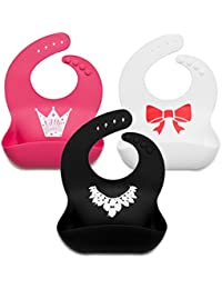 Baby Bibs for Girls 3 Pack - 100% Food Grade Silicon -...