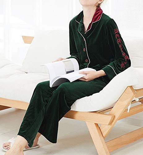 per Pigiama inverno verde e vestito caldo delle a oro CWJ a velluto di donne pezzi e vestito due maniche autunno lunghe pigiama confortevole mantenere Uqxdpx0n