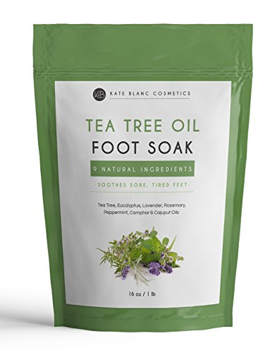 (Tea Tree Oil Foot Soak With Epsom Salt by Kate Blanc. Relaxing and Therapeutic. Smells Wonderful. Soothes Tired, Achy Feet. Soften Rough Calluses. Remove Feet Odor. 1-Year Guarantee. Big Bag (16 oz))