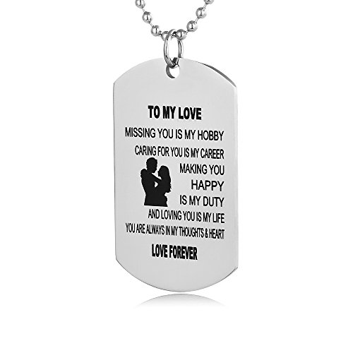 - FAYERXL Valentine's Day Gift for Men Boys Girls Couple Military Tag Pendant Necklace (To My Love)