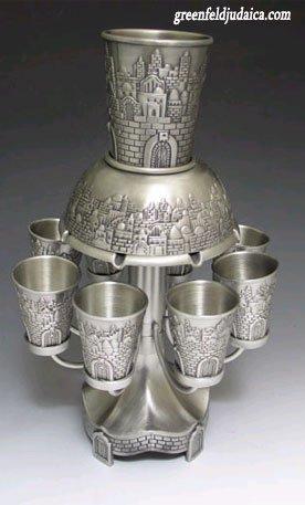 jerusalem-motifs-pewter-8-cup-kiddush-wine-fountain