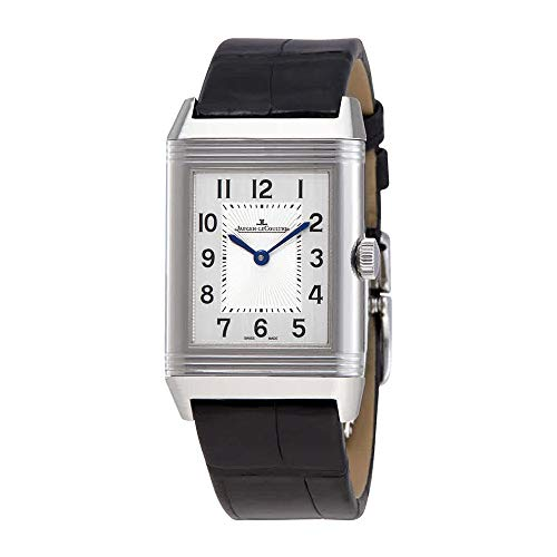 Jaeger LeCoultre Reverso Classic Medium Duetto Silver Dial Mens Leather Hand Wound Watch Q2588420