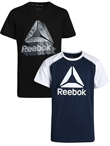 Reebok Boys Performance Quick Dry Athletic Sports T-Shirt (2 Pack), Black/Bright Navy, X-Large / 18-20'