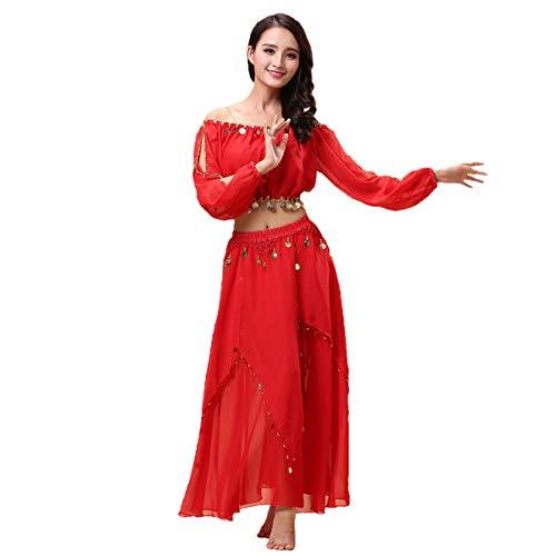 Maylong Women's Lantern Sleeve Belly Dance Skirt Halloween Costume DW60 (red) ()