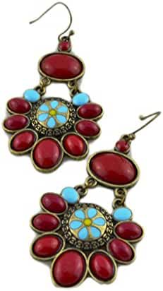 CA Mode Women's Dangle Earrings Jewelry Ethnic Flower Bohemian