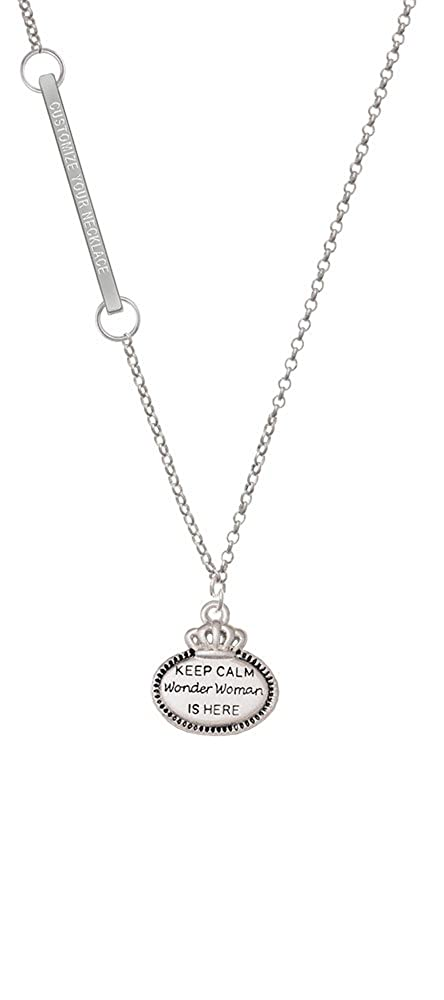 Keep Calm Wonder Woman is Here Custom Engraved Delicate Bar Necklace