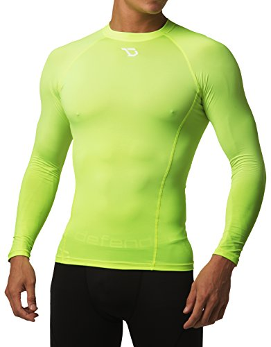 Defender Men's Long Sleeve T-Shirt Cool Dry Tights Quick Dry Football - Yellow Gear T-shirt