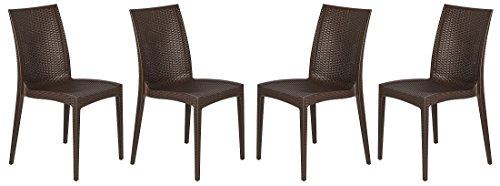 LeisureMod Modern Weave Design Mace Indoor/Outdoor Dining Chair, Set of 4 (Brown) (Wire Outdoor Chairs)