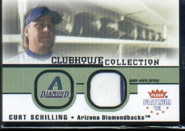2002 Fleer Platinum Clubhouse Memorabilia #34 Curt Schilling Game-Worn Jersey Card