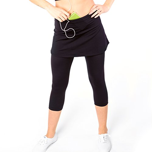 Womens Capri Skirt, Active Skapri with Pockets, Running Skirted Leggings Skirt Attached Leggings, Athletic Skort Pants Plus Size with Tummy Control (Large) Black -