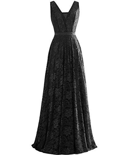 Abendkleider Linie Grau V Gürtel Schwarz Ballklider A Spitze mit Kleid Ausschnitt Langes Rueckenfrei ärmellos IxT44g