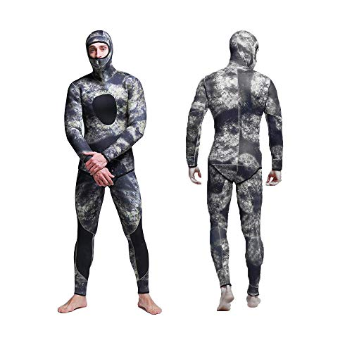Nataly Osmann Men 5mm Spearfishing Premium Camouflage Neoprene Wetsuit Scuba Diving Suit Hoodie Snorkeling - Spearfishing Suit