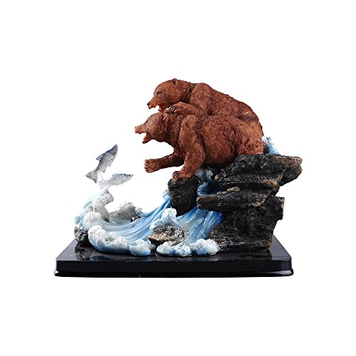 Comfy Hour Grizzly Bear Couple Catching Salmon Figurine