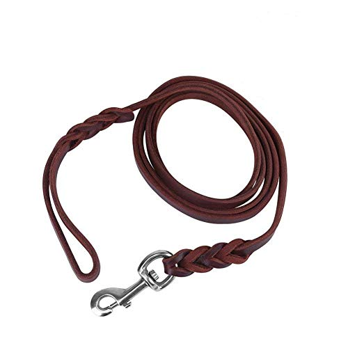 Brown Leather Dog Leash 7/6/5 Foot 3 Types Leather Belt for Walking Running Training (1.2m) (Best Type Of Dog Leash)
