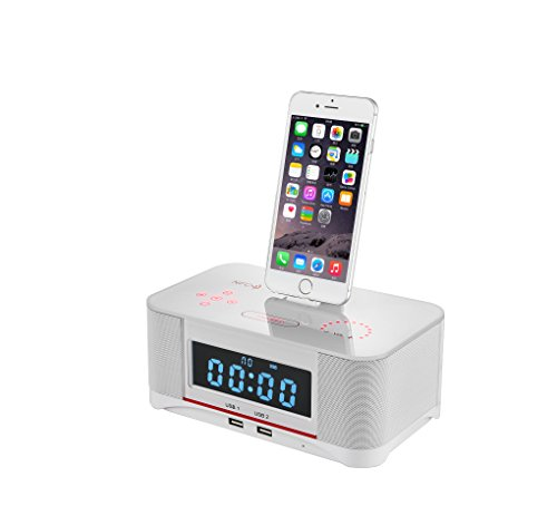 PowerLead Digital Dual Alarm FM Clock with Radio Bluetooth 4.0 Speaker, Battery Backup, Snooze and Sleep Timer, Large Display, NFC Compatibility, Lightning Dock for Iphone/Ipad/Ipod---White