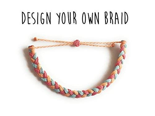 - Design your Own Braided Waxed Bracelet, Choose 3 colors, Adjustable and Waterproof