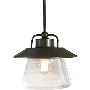 allen roth bristow 12in w mission bronze pendant light with clear glass shade