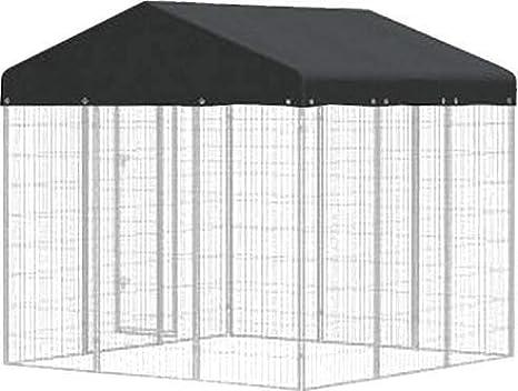 Caseta de metal con techo impermeable: Amazon.es: Productos para mascotas