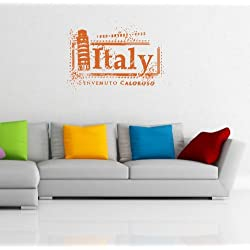 Wall Vinyl Decals Travel Trip Seal Stamp ITALY Leaning Tower of Pisa Logo Emblem Sticker Art Home Modern Stylish Interior Decor for Any Room Housewares Murals Design Window Graphic Bedroom Living Room (2547)