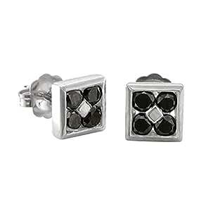 Amazon.com: Mens 10k White Gold Square Black Diamond Stud ...