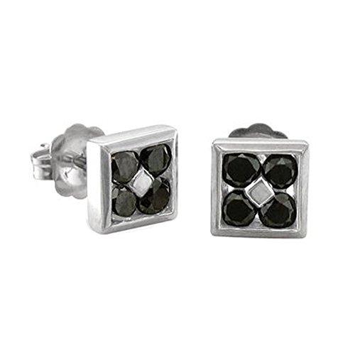 Mens 10k White Gold Square Black Diamond Earrings Studs – 0.50 carat
