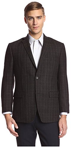 Andrew Marc Men's 2 Button Windowpane Sportcoat, Brown 42R ()